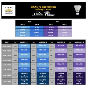 BISAC JV Badminton Schedule @NIST 31 March