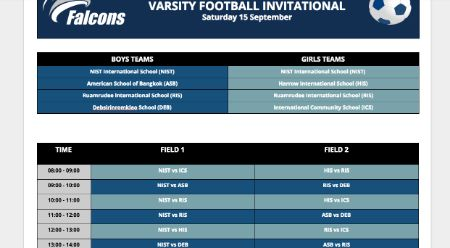 Falcons Varsity Volleyball and Football Invitational Schedule