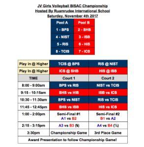BISAC Junior Varsity Girls Volleyball Schedule @RIS