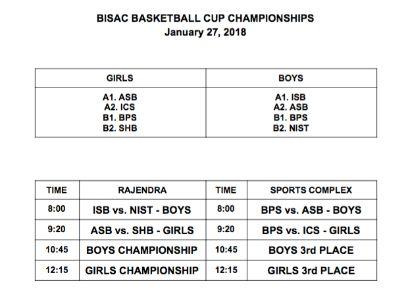 Varsity Boys Basketball BISAC Schedule 27 JAN