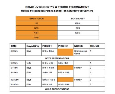 BISAC JV Rugby & Touch Schedule 3 Feb