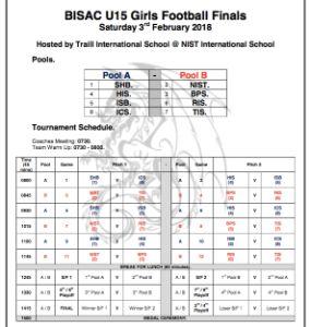 BISAC U15 Girls Football Schedule