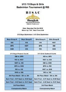 BISAC U13 Boys and Girls Badminton @RIS 2nd Feb