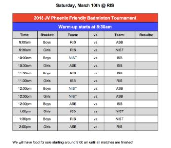 JV Badminton Boys and Girls Phoenix Invitational 10 March