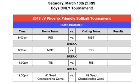 JV Boys Softball Phoenix Invitational 10 March