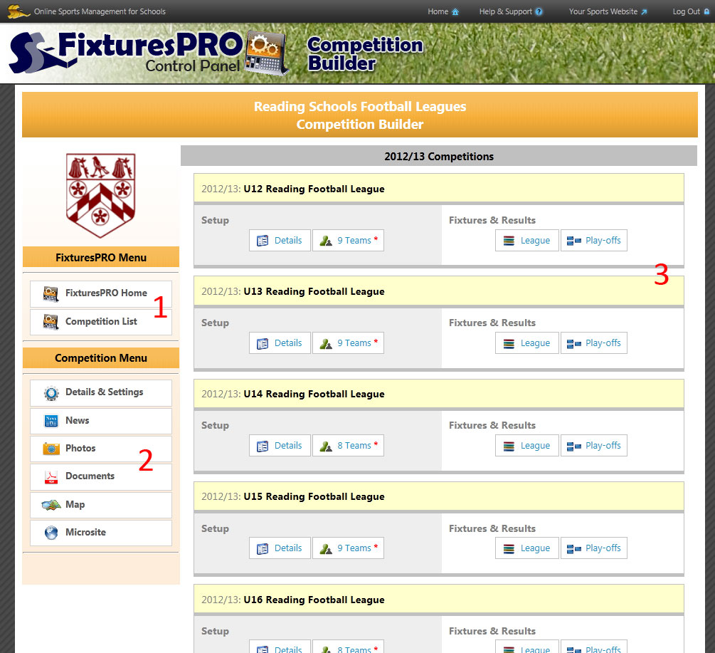 Competition Builder control panel