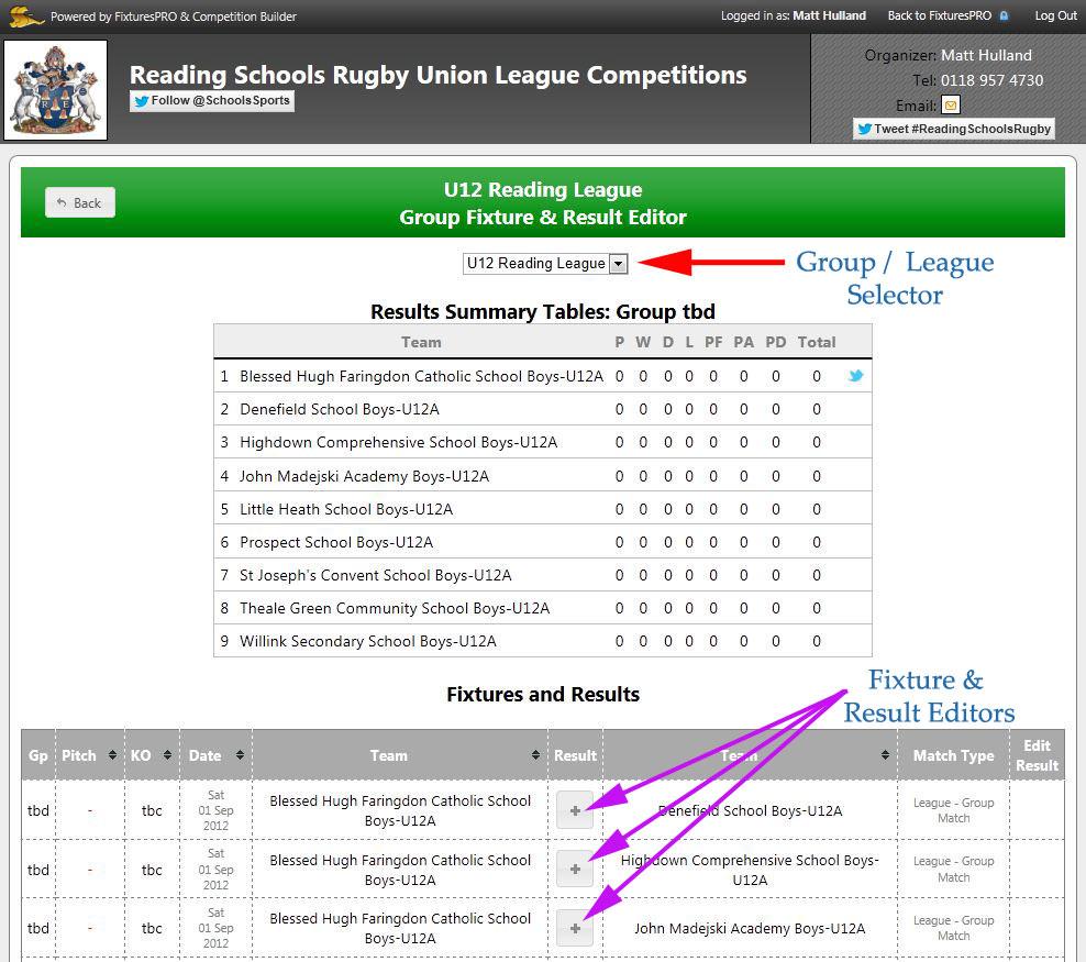 Edit Competition Fixtures