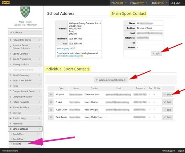 Edit Sport Contacts